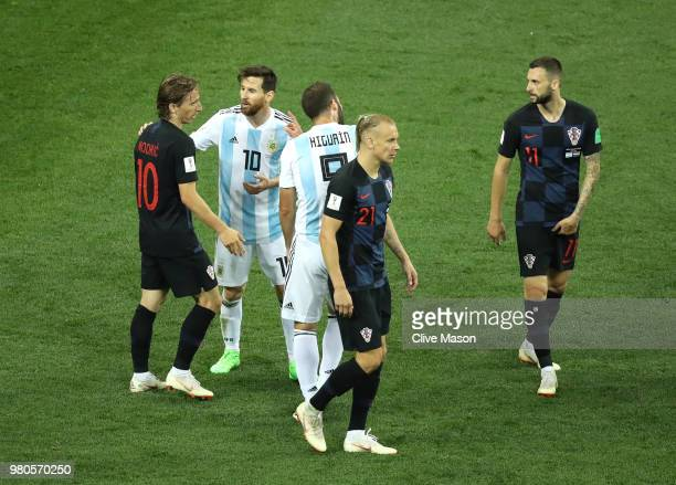Lionel Messi of Argentina confronts Luka Modric of Croatia during the 2018 FIFA World Cup Russia group D match between Argentina and Croatia at...