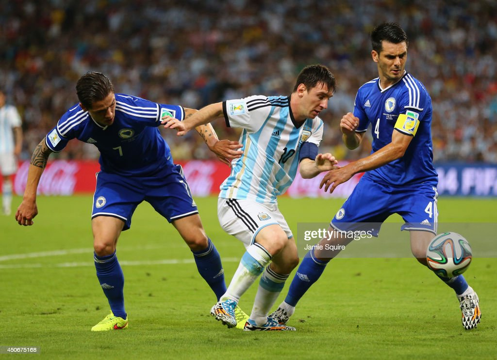 Lionel Messi Of Argentina Controls The Ball Against
