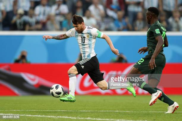 Lionel Messi of Argentina controls the ball before scoring his team's forst goal during the 2018 FIFA World Cup Russia group D match between Nigeria...