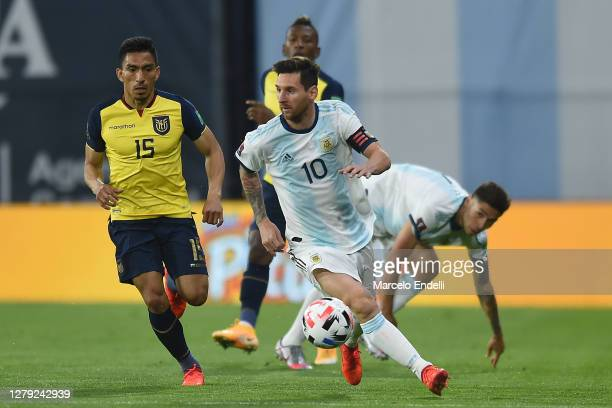 Lionel Messi of Argentina controls the ball during a match between Argentina and Ecuador as part of South American Qualifiers for Qatar 2022 at...