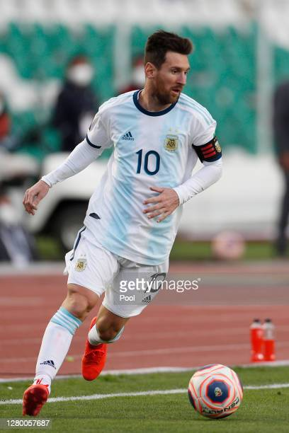 Lionel Messi of Argentina controls the ball during a match between Bolivia and Argentina as part of South American Qualifiers for Qatar 2022 at...