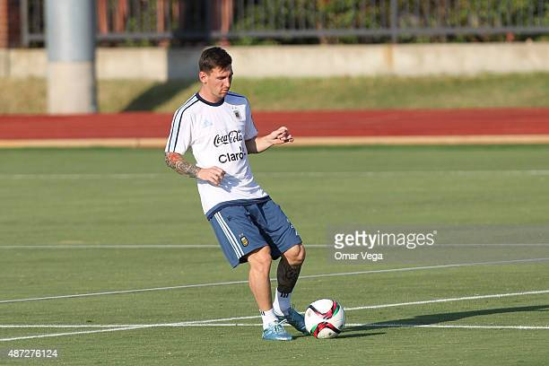 Lionel Messi of Argentina controls the ball during a training session at SMU Westcott Field on September 07 2015 in Dallas United States