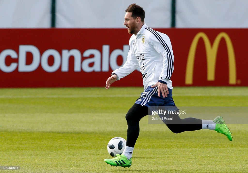 Lionel Messi of Argentina controls the ball during an open to public training session at Bronnitsy Training Camp on June 11, 2018 in Bronnitsy, Russia.