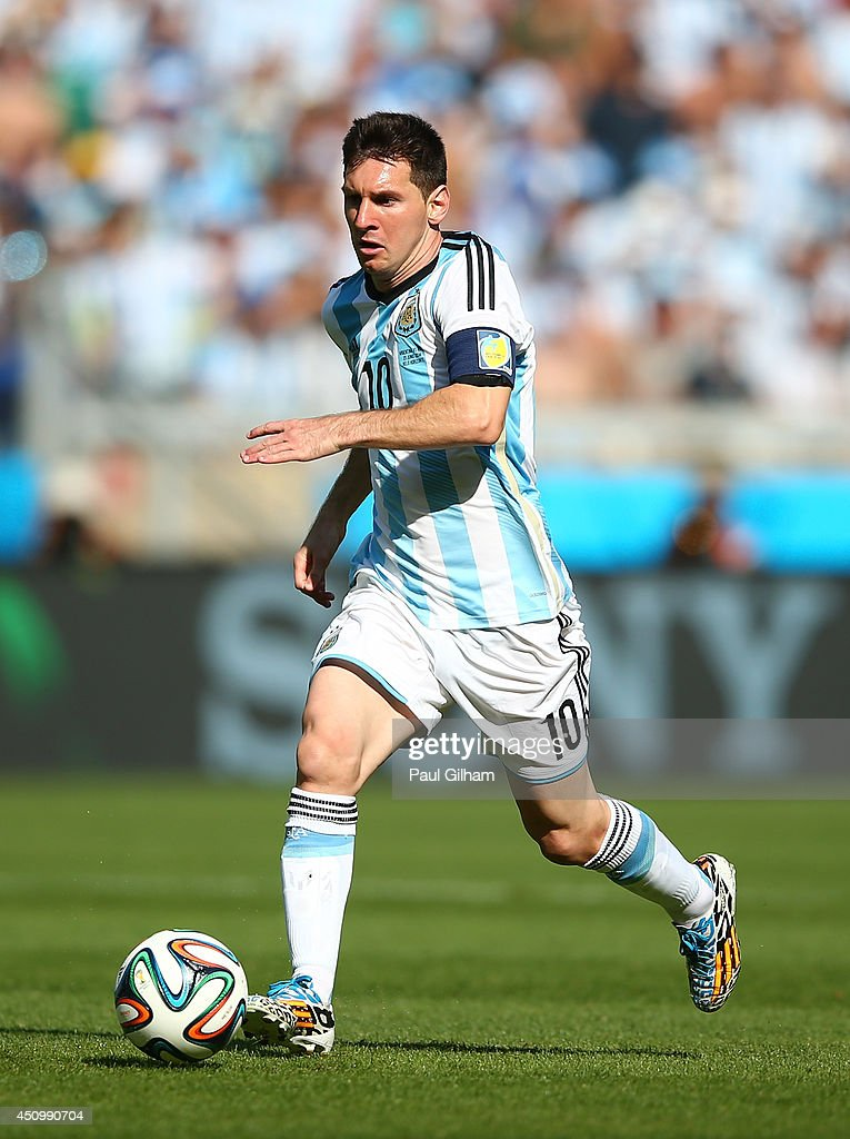 Lionel Messi of Argentina controls the ball during the 2014 FIFA World Cup Brazil Group F match between Argentina and Iran at Estadio Mineirao on June 21, 2014 in Belo Horizonte, Brazil.