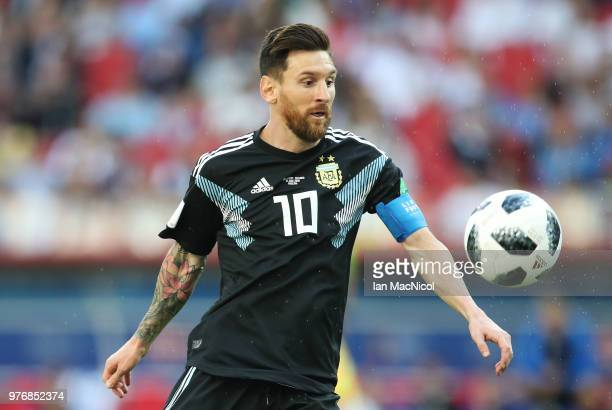 Lionel Messi of Argentina controls the ball during the 2018 FIFA World Cup Russia group D match between Argentina and Iceland at Spartak Stadium on...