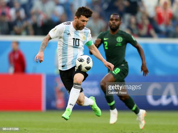Lionel Messi of Argentina controls the ball during the 2018 FIFA World Cup Russia group D match between Nigeria and Argentina at Saint Petersburg...
