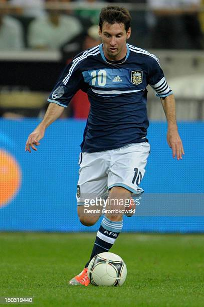 Lionel Messi of Argentina controls the ball during the international friendly match between Germany and Argentina and CommerzbankArena on August 15...