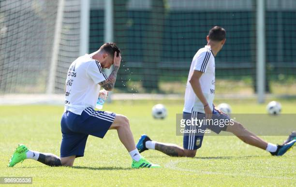 Lionel Messi of Argentina cool off during a training session at Stadium of Syroyezhkin sports school on June 28 2018 in Bronnitsy Russia