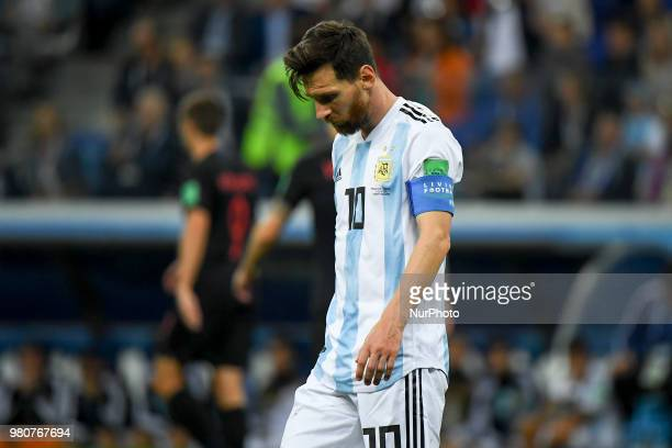 Lionel Messi of Argentina dejected during the FIFA World Cup Group D match between Argentina and Croatia at Nizhny Novogorod Stadium in Nizhny...