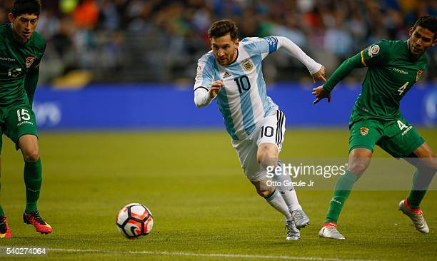 Lionel Messi of Argentina dribbles against Bolivia during the 2016 Copa America Centenario Group D match at CenturyLink Field on June 14 2016 in...