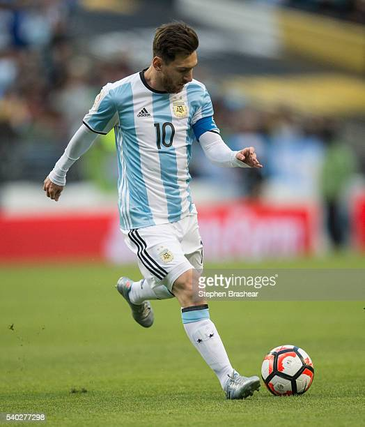 Lionel Messi of Argentina dribbles the ball during a group D match between Argentina and Bolivia at CenturyLink Field as part of Copa America...
