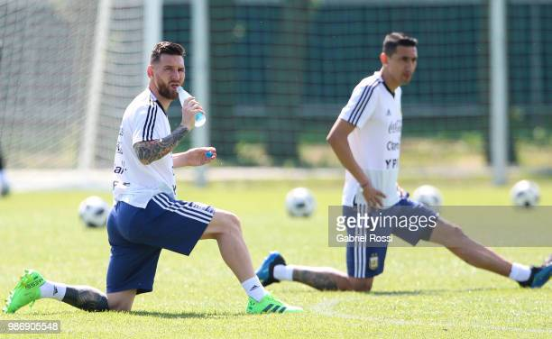 Lionel Messi of Argentina drinks water during a training session at Stadium of Syroyezhkin sports school on June 28 2018 in Bronnitsy Russia