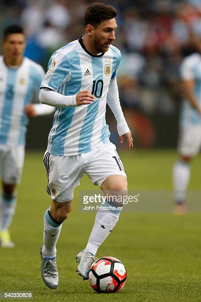Lionel Messi of Argentina drives the ball during a group D match between Argentina and Bolivia at Century Link Field as part of Copa America...