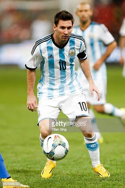 Lionel Messi of Argentina drives the ball during a match between Argentina and Brazil as part of 2014 Superclasico de las Americas at Bird Nest...