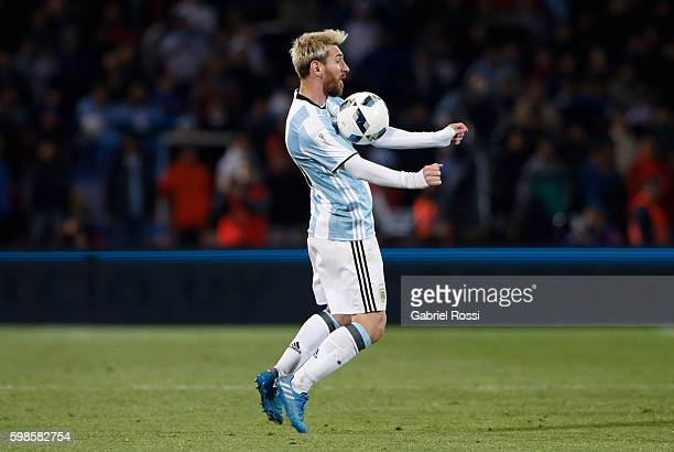 Lionel Messi of Argentina drives the ball during a match between Argentina and Uruguay as part of FIFA 2018 World Cup Qualifiers at Malvinas...