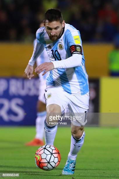 Lionel Messi of Argentina drives the ball during a match between Ecuador and Argentina as part of FIFA 2018 World Cup Qualifiers at Olimpico...