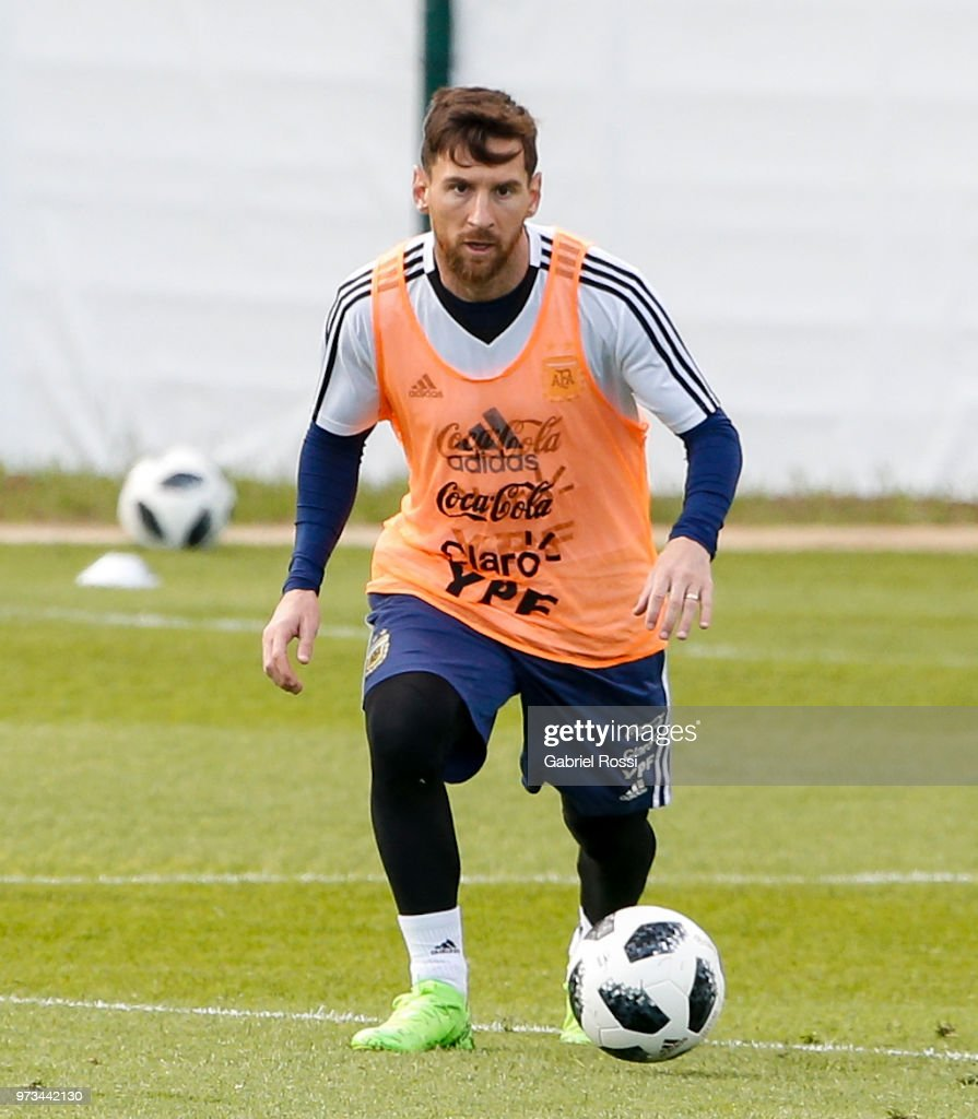 Lionel Messi of Argentina drives the ball during an open to public training session at Bronnitsy Training Camp on June 11, 2018 in Bronnitsy, Russia.