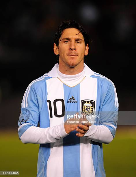 Lionel Messi of Argentina during a friendly match against Albania at Monumental Vespucio liberti on June 20, 2011 in Buenos Aires, Argentina.