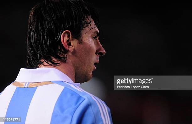 Lionel Messi of Argentina during a friendly match against Albania at the Monumental Vespucio liberti on June 20, 2011 in Buenos Aires, Argentina.