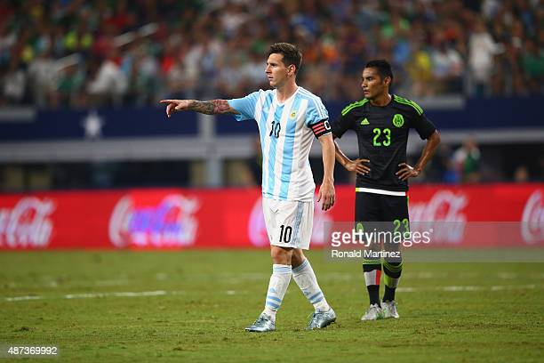 Lionel Messi of Argentina during a international friendly against Mexico at ATT Stadium on September 8 2015 in Arlington Texas