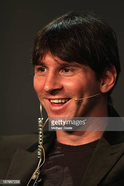 Lionel Messi of Argentina during a press conference ahead of the FIFA Ballon d'or Gala at the Zurich Kongresshaus on January 10 2011 in Zurich...
