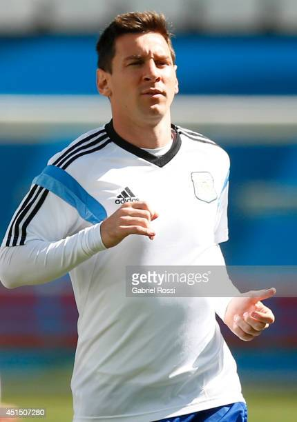 Lionel Messi of Argentina during a training session at Arena Corinthians on June 30 2014 in Sao Paulo Brazil Argentina will face Switzerland as part...