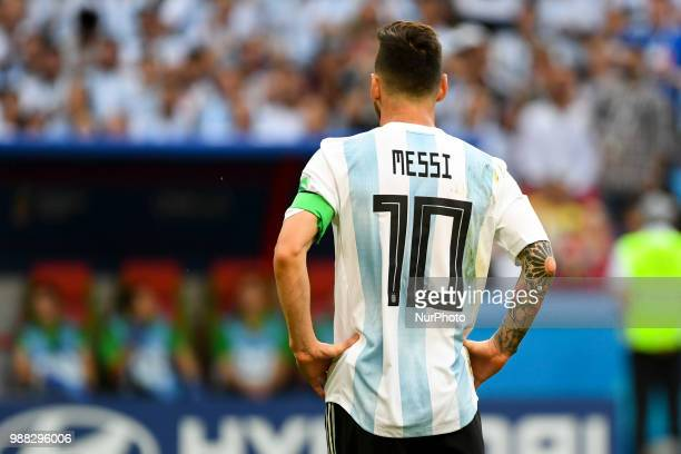 Lionel Messi of Argentina during the 2018 FIFA World Cup Round of 16 match between France and Argentina at Kazan Arena in Kazan Russia on June 30 2018
