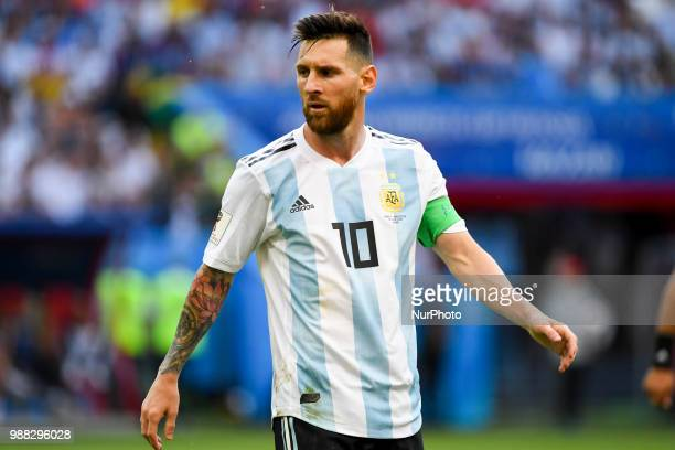 Lionel Messi of Argentina during the 2018 FIFA World Cup Round of 16 match between France and Argentina at Kazan Arena in Kazan, Russia on June 30,...