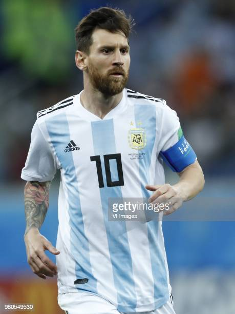 Lionel Messi of Argentina during the 2018 FIFA World Cup Russia group D match between Argentina and Croatia at the Novgorod stadium on June 21, 2018...