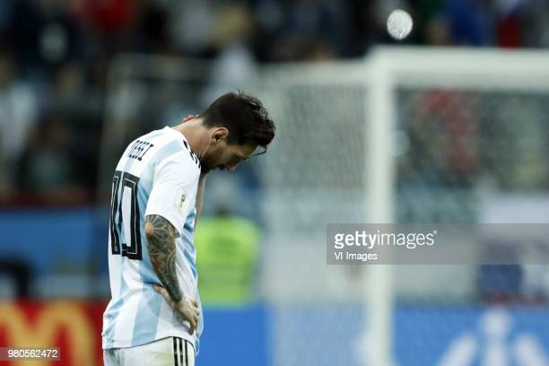 Lionel Messi of Argentina during the 2018 FIFA World Cup Russia group D match between Argentina and Croatia at the Novgorod stadium on June 21 2018...