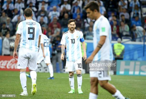 Lionel Messi of Argentina during the 2018 FIFA World Cup Russia group D match between Argentina and Croatia at Nizhniy Novgorod Stadium on June 21,...