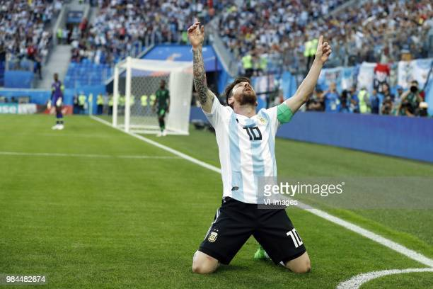 Lionel Messi of Argentina during the 2018 FIFA World Cup Russia group D match between Nigeria and Argentina at the Saint Petersburg Stadium on June...