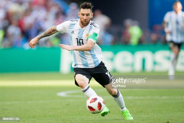 Lionel Messi of Argentina during the 2018 FIFA World Cup Russia Round of 16 match between France and Argentina at Kazan Arena on June 30 2018 in...
