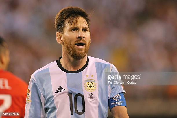 Lionel Messi of Argentina during the Argentina Vs Chile Final match of the Copa America Centenario USA 2016 Tournament at MetLife Stadium on June 26...
