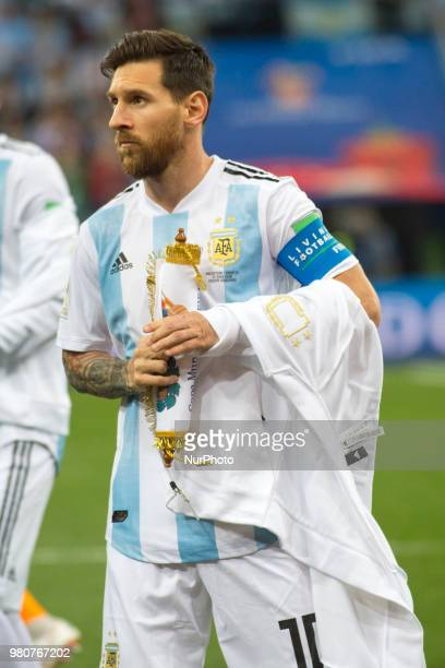 Lionel Messi of Argentina during the FIFA World Cup Group D match between Argentina and Croatia at Nizhny Novogorod Stadium in Nizhny Novogorod...