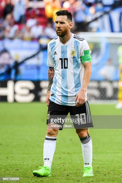 Lionel Messi of Argentina during the FIFA World Cup Round of 16 match between France and Argentina at Kazan Arena on June 30 2018 in Kazan Russia