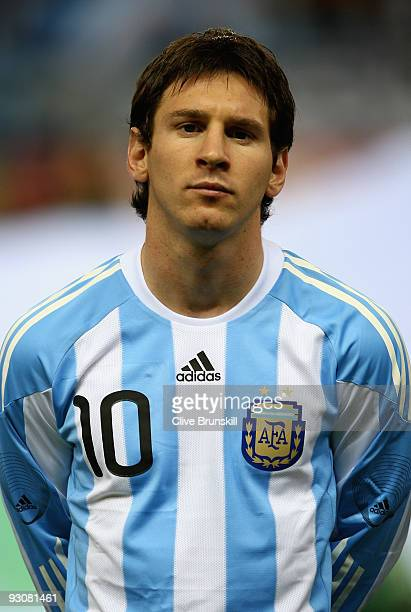 Lionel Messi of Argentina during the friendly International football match Spain against Argentina at the Vicente Calderon stadium in Madrid, on...
