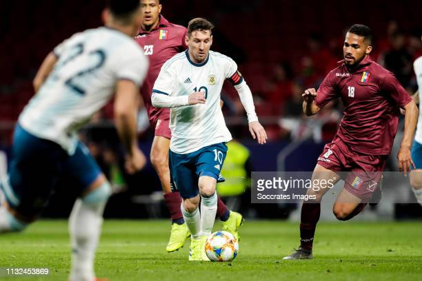 Lionel Messi of Argentina during the International Friendly match between Argentina v Venezuela at the Estadio Wanda Metropolitano on March 22 2019...