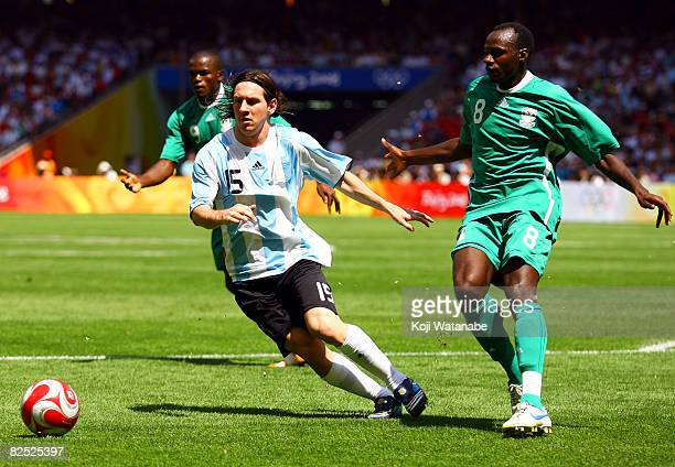 Lionel Messi of Argentina during the Men's Final between Nigeria and Argentina at the National Stadium on Day 15 of the Beijing 2008 Olympic Games on...