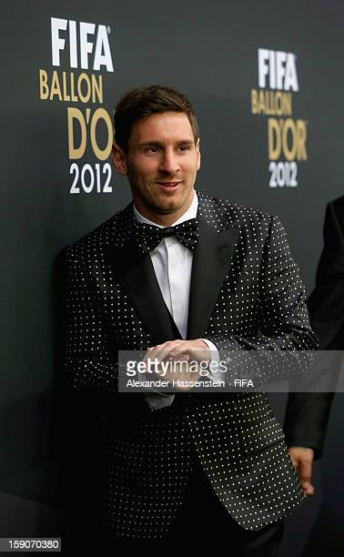 Lionel Messi of Argentina during the red carpet arrivals at the FIFA Ballon d'Or Gala 2012 at the Kongresshaus on January 7 2013 in Zurich Switzerland