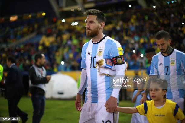 Lionel Messi of Argentina enters the field prior to a match between Ecuador and Argentina as part of FIFA 2018 World Cup Qualifiers at Olimpico...