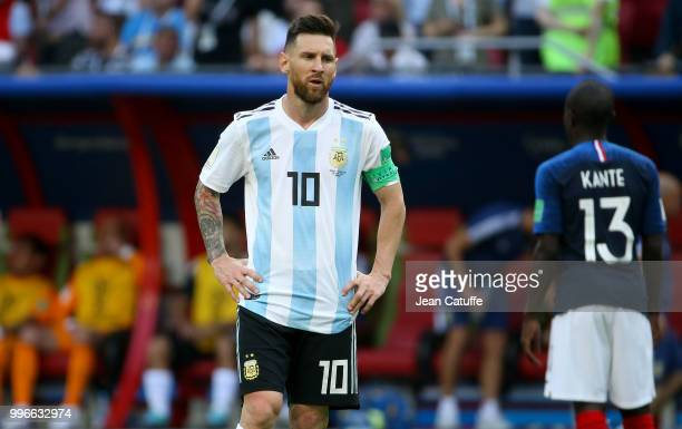 Lionel Messi of Argentina following the 2018 FIFA World Cup Russia Round of 16 match between France and Argentina at Kazan Arena on June 30 2018 in...