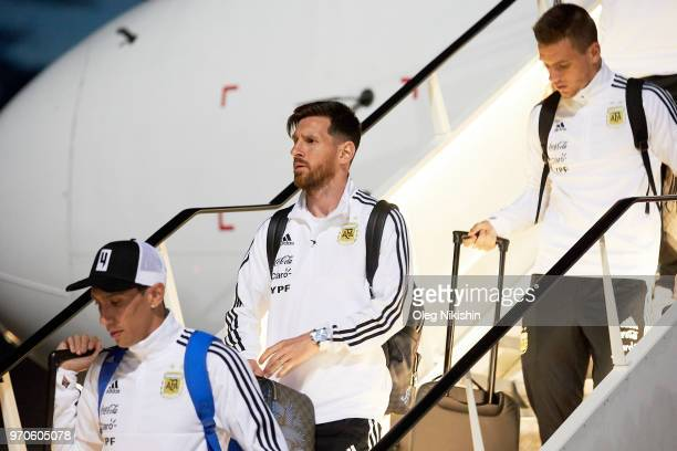 Lionel Messi of Argentina football team player arrives to compete in the 2018 World Cup at Zhukovsky airport on June 9 2018 in Moscow Russia