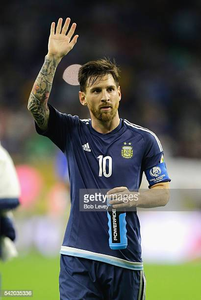 Lionel Messi of Argentina gestures after defeating the United States 40 in a 2016 Copa America Centenario Semifinal match at NRG Stadium on June 21...