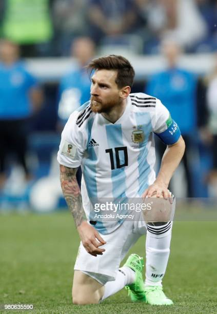 Lionel Messi of Argentina gestures after losing the 2018 FIFA World Cup Russia Group D match against Croatia at Nizhny Novgorod Stadium in Nizhny...