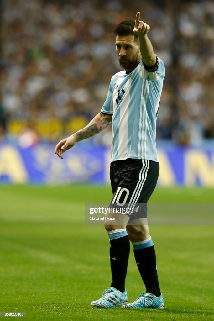 Lionel Messi of Argentina gestures during a match between Argentina and Peru as part of FIFA 2018 World Cup Qualifiers at Estadio Alberto J. Armando on October 5, 2017 in Buenos Aires, Argentina.