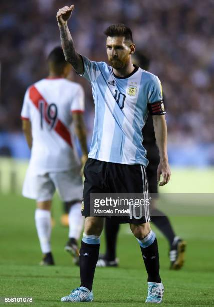 Lionel Messi of Argentina gestures during a match between Argentina and Peru as part of FIFA 2018 World Cup Qualifiers at Estadio Alberto J Armando...