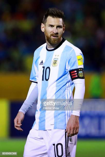 Lionel Messi of Argentina gestures during a match between Ecuador and Argentina as part of FIFA 2018 World Cup Qualifiers at Olimpico Atahualpa...