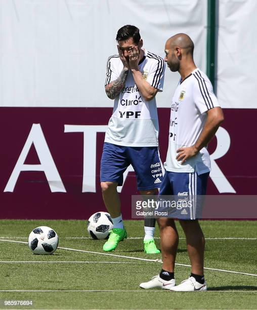 Lionel Messi of Argentina gestures during a training session at Stadium of Syroyezhkin sports school on June 27 2018 in Bronnitsy Russia