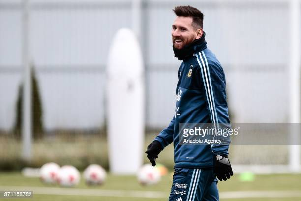 Lionel Messi of Argentina gestures during a training session at Spartak Stadium on November 7 2017 in Moscow Russia